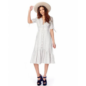 LOST + WANDER gypset button front midi dress S